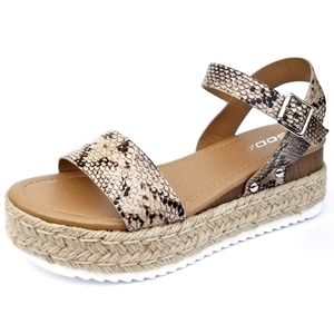 New Snake Open Toe Espadrille Flatform Sandals